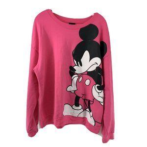 Disney Angry Mickey Mouse Pink Sweatshirt XXL